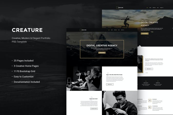 Creature elegant portfolio psd template by unvab on envato elements cover image for creature elegant portfolio psd template maxwellsz