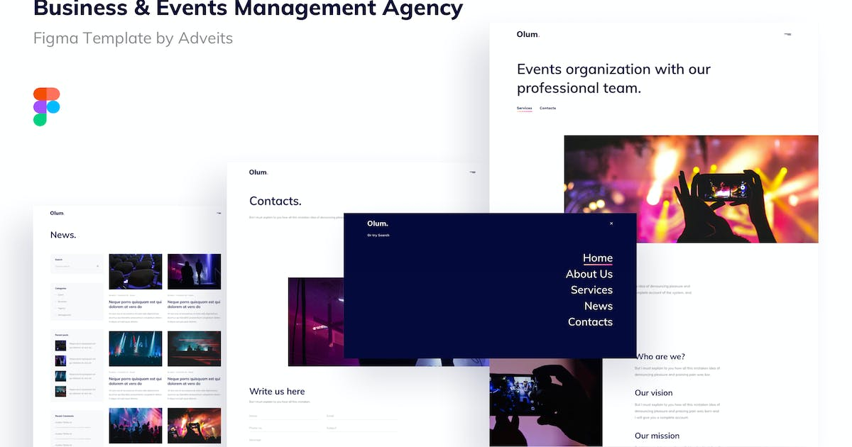 Download Olum - Business & Events Management Agency Figma T by adveits