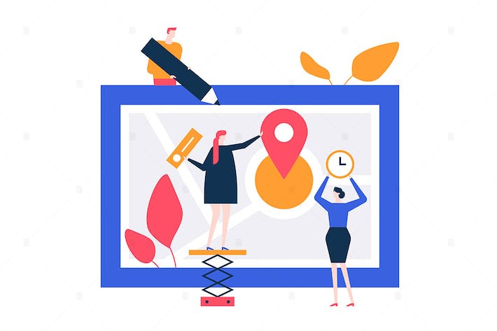 Thumbnail for Office location - flat design style illustration