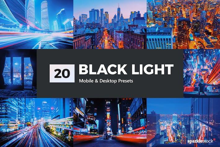 Thumbnail for 20 Black Light Lightroom Presets & LUTs
