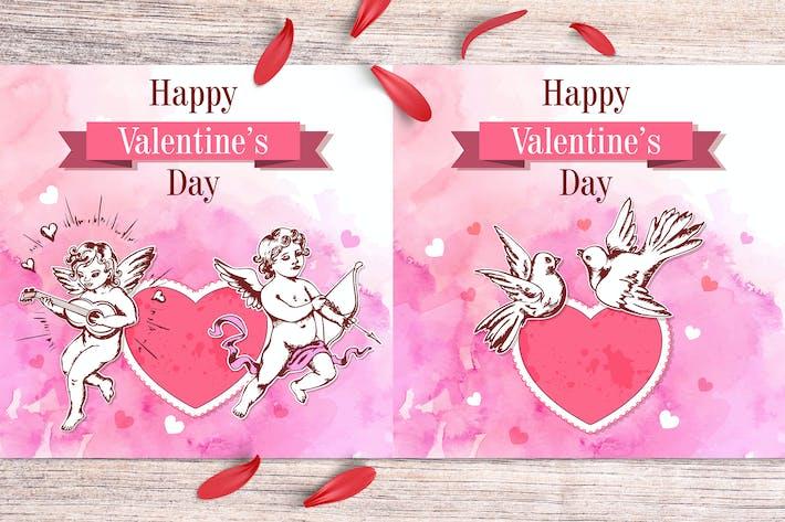 Акварель День Святого Валентина Поздравительная открытка