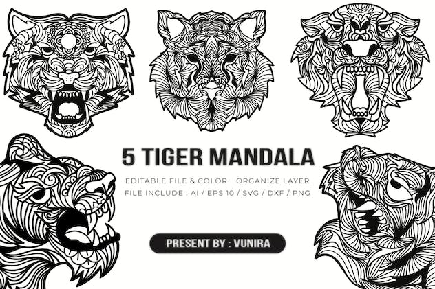 5 Tiger Mandala | Design Illustration