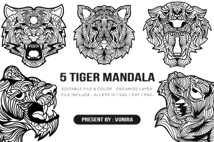 Thumbnail for 5 Tigre Mandala | Dessin Illustration
