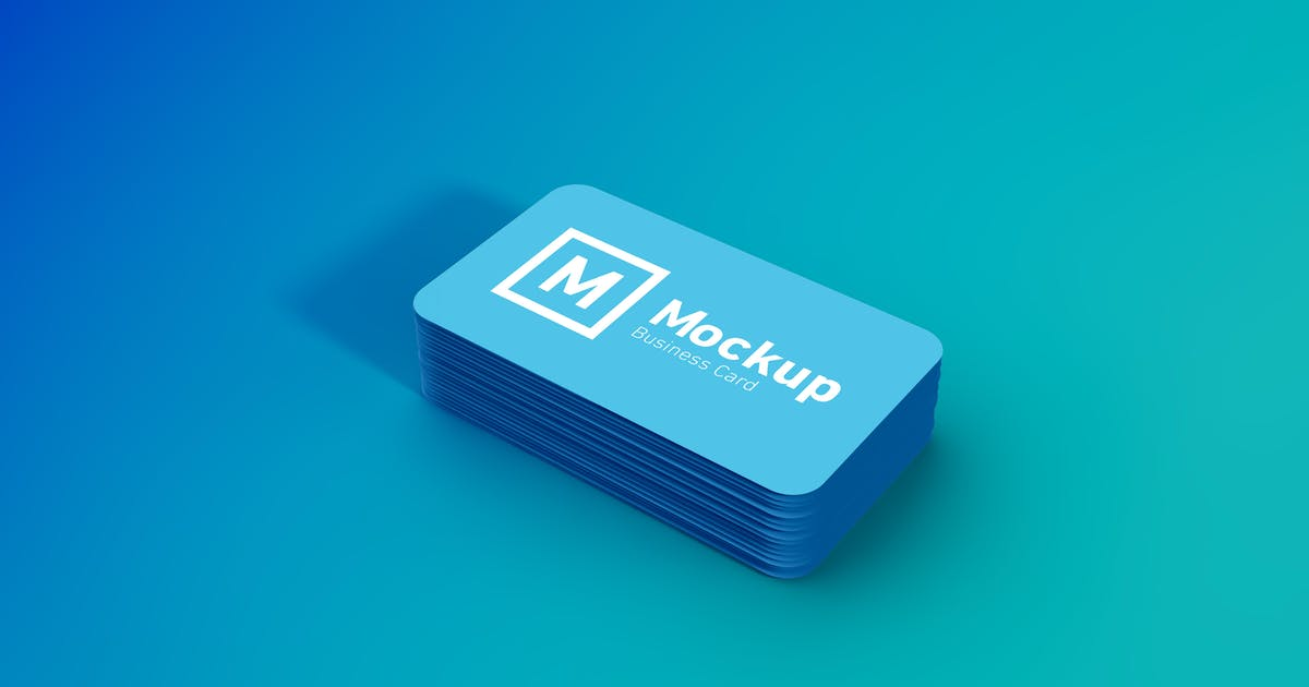 Download Rounded Business Card Stack Mockup by amritpaldesign