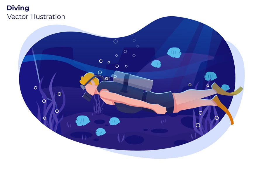 Diving - Vector Illustration