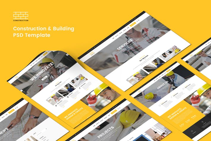 Cover Image For Construction & Building PSD Template