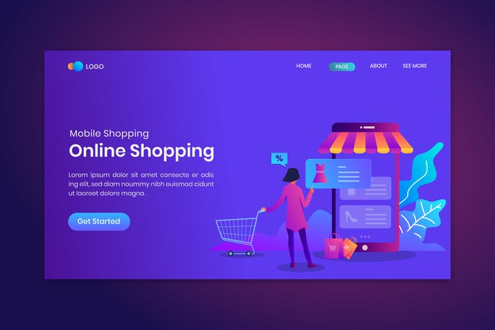 Thumbnail for Online Shopping Landing Page Template