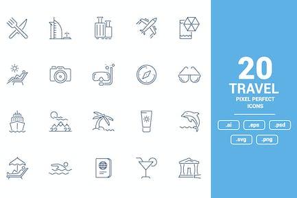 Diseño de Íconos de línea plana - Viajes y Ocio