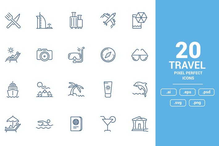 Flat line icons design - Travel and Leisure