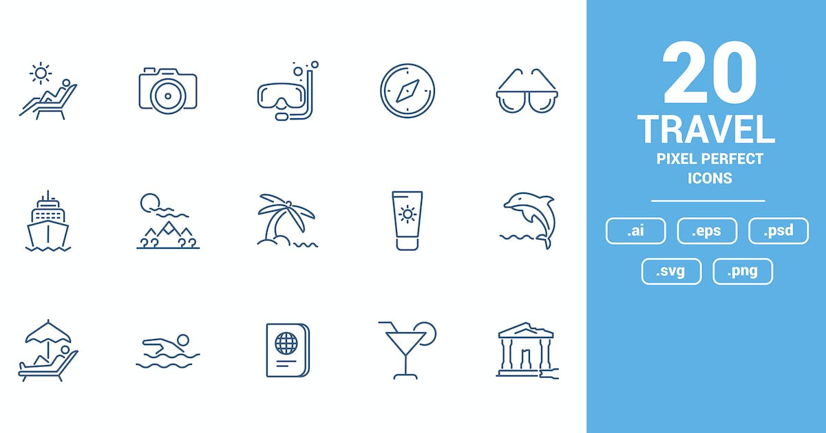 Download Flat line icons design - Travel and Leisure by graphics4u