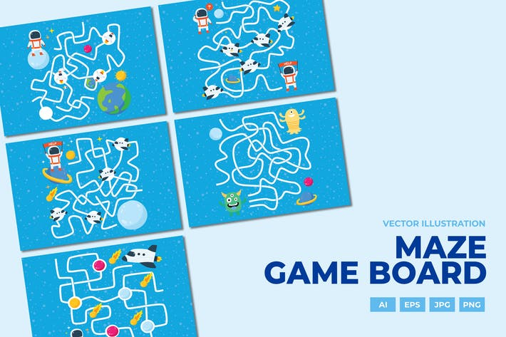 Thumbnail for Maze game board space theme series