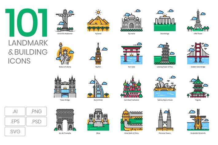 Thumbnail for 101 Famous Landmark Icons