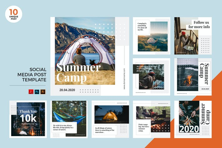 Thumbnail for Kit de médias sociaux pour camping en plein air PSD et AI Modèle