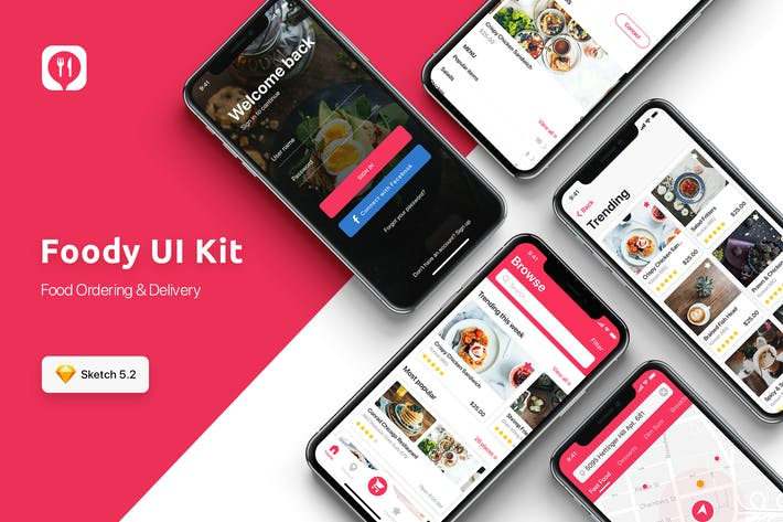 Thumbnail for Food ordering & Delivery UI Kit for SKETCH