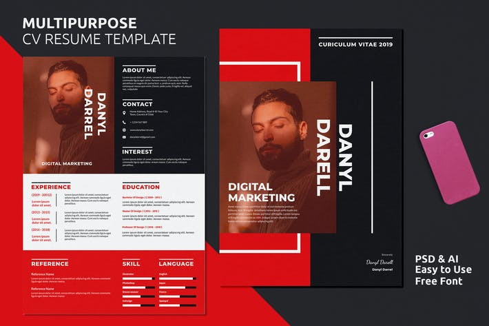Thumbnail for Resume CV Template Vol. 23