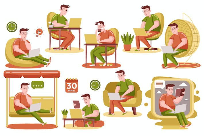 Thumbnail for Man Working with Laptop at Home (Vector)