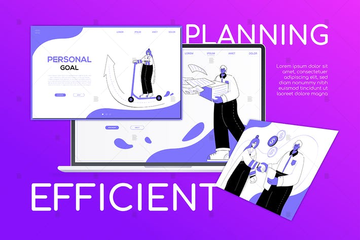 Thumbnail for Efficient planning - flat design style web banner