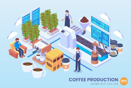 Isometric Coffee Production Vector Concept