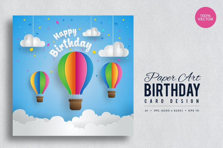 Thumbnail for Paper Art Happy Birthday Vector Card Vol.3