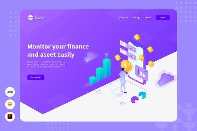 Money Management - Website Header Illsutration