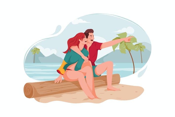 Couple enjoying in beach