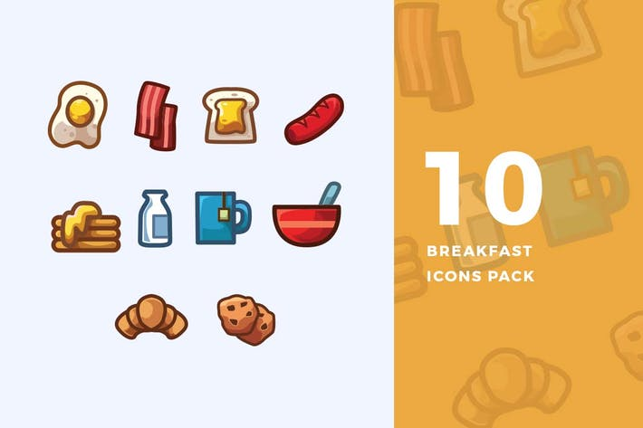 Thumbnail for 10 Breakfast Icons Pack