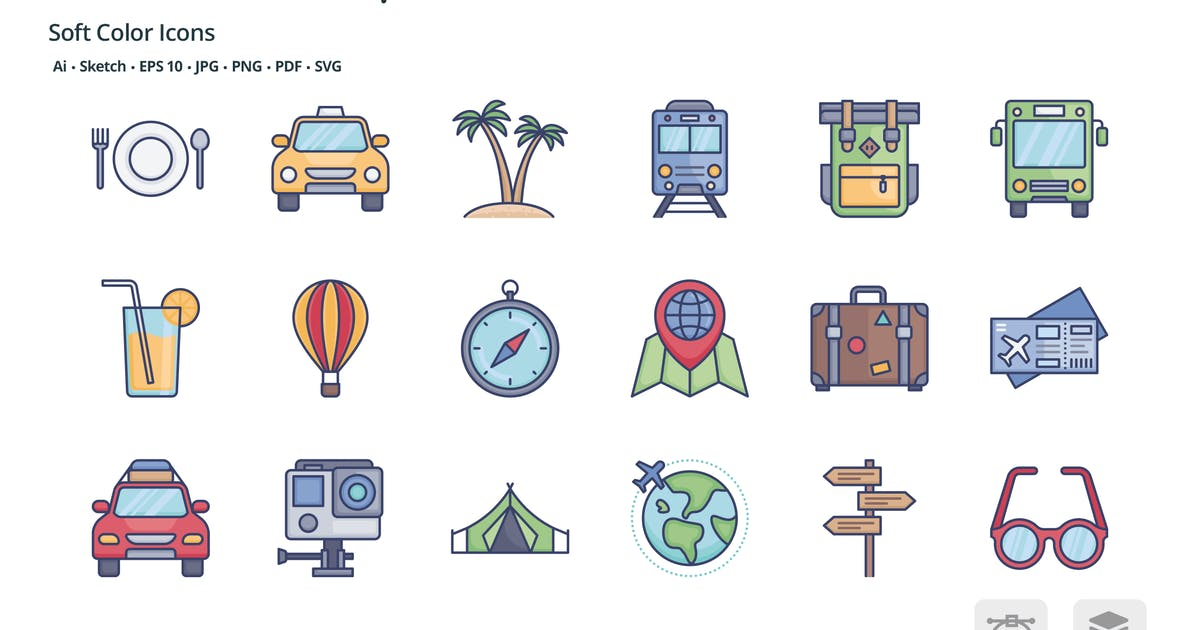 Download Travel and transportation soft color icons by roundicons