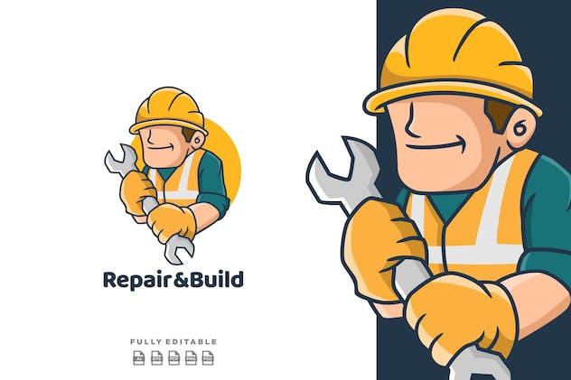 Repair & Build Cartoon  Mascot Logo - product preview 1