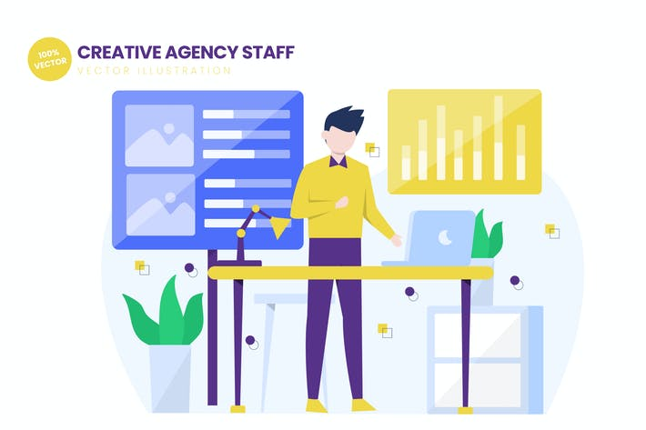 Thumbnail for Creative Agency Staff Flat Vector Illustration