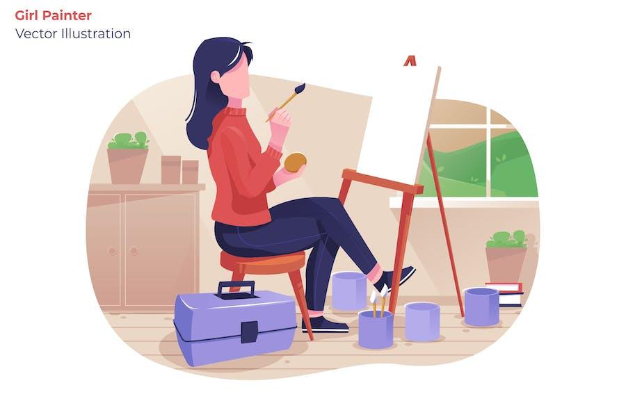 Girl Painter - Vector Illustration