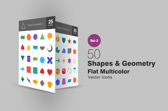 Thumbnail for 50 Shapes & Geometry Flat Multicolor Icons