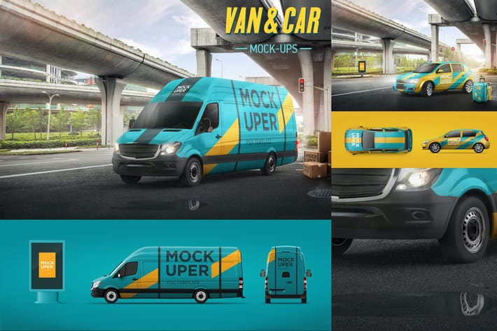 Thumbnail for Van & Car Mock-Ups (2 PSD)