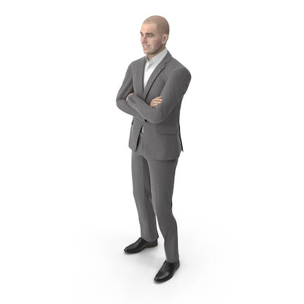 Business Man Crossed Arms Suit Grey