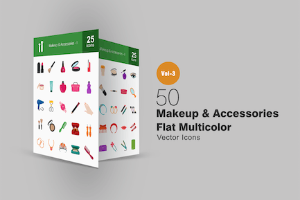 50 Makeup & Accessories Flat Multicolor Icons
