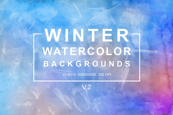 Cover Image For Winter Watercolor Backgrounds vol.2