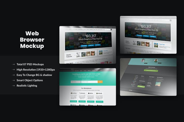 Thumbnail for Photorealistic Pixel Screen Web-Browser Mockup