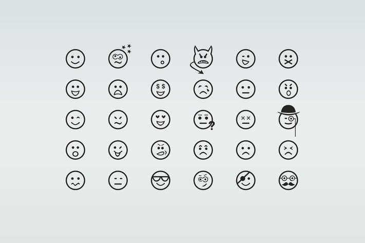 Thumbnail for 30 Smiley Line Icons