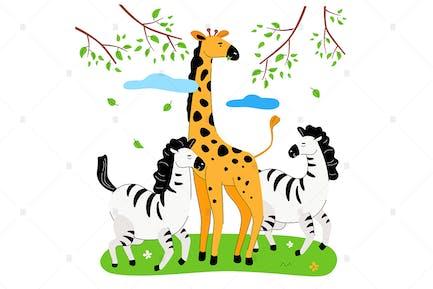 Zebras und Giraffe - flache Designillustration