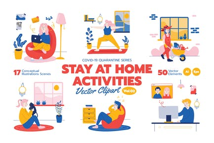 Stay At Home Activities Vector Clipart Vol.2