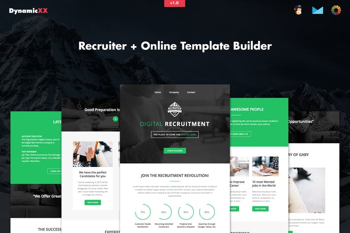 Thumbnail for Recruiter - Responsive Recruitment Email + Builder
