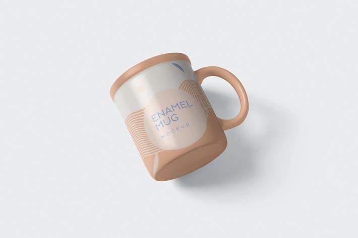 Round Enamel Mug Mockup With Handle
