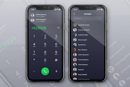 App -Konzept für Telefonkontakt und Wählbildschirm