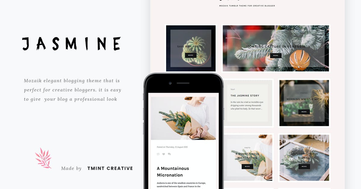 Download Jasmine - Mozaik Tumblr Theme by TMint