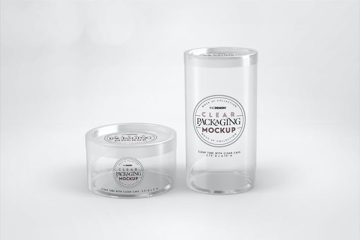 Thumbnail for Clear Cylinder Packaging with Clear Caps Mockup