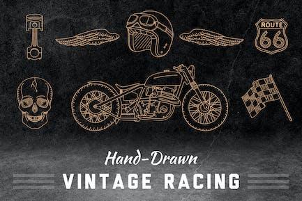 Elementos de carreras Vintage dibujados a mano.