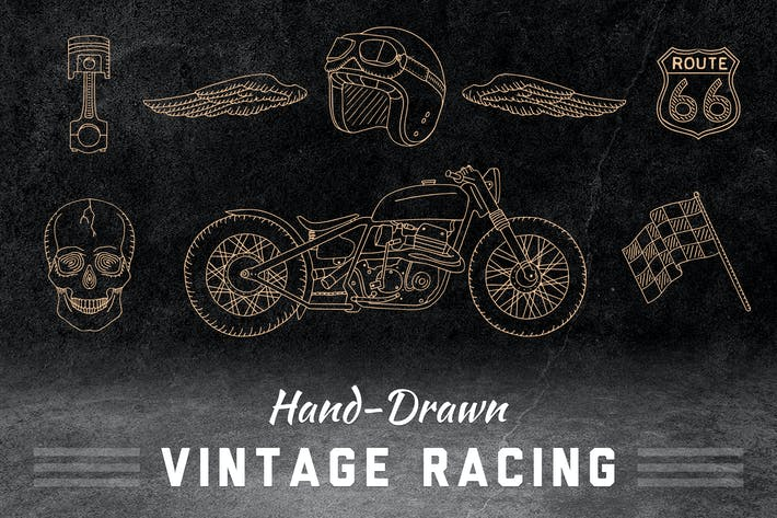 Cover Image For Hand-Drawn Vintage Racing Elements