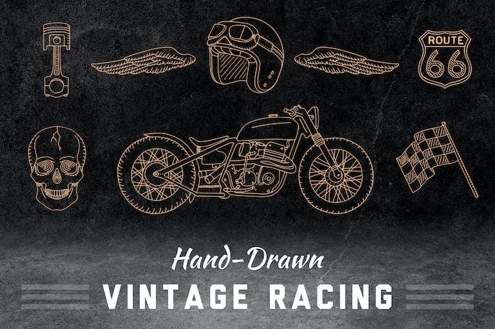 Thumbnail for Handgezeichnete Vintage Racing Elements