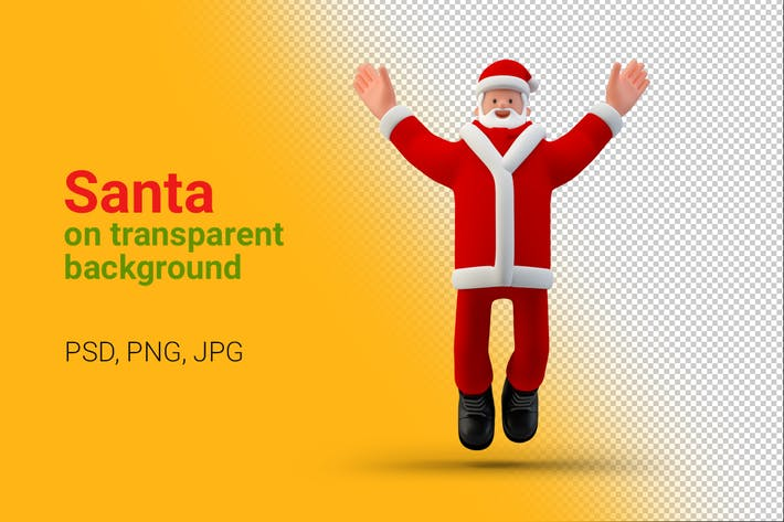 Thumbnail for Santa Happy Jumps up on Transparent Background