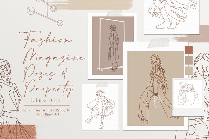Thumbnail for Fashion Magazine Pose Line Art