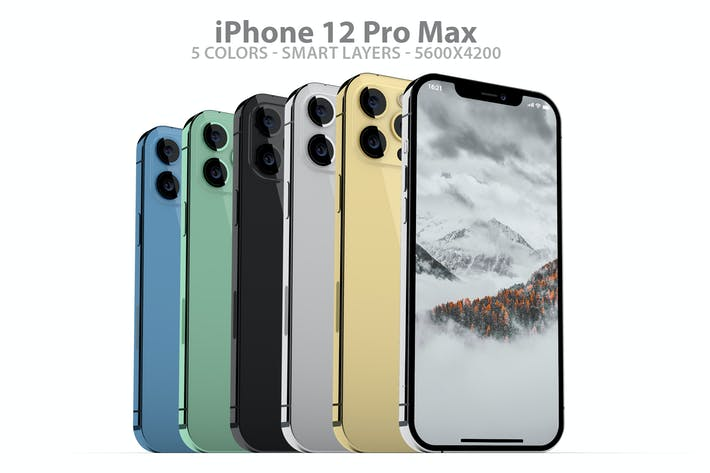 Thumbnail for iPhone 12 Pro Max PSD Mockups in All Colors